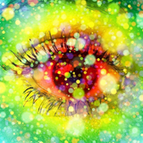 Graphic from bottle label: Illustration of a colorful eye