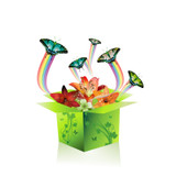 Graphic of a box with flowers and butterflies flying out
