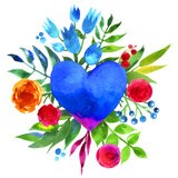 Graphic from bottle label: Watercolor illustration of a blue heart surrounded by flowers on a white background.