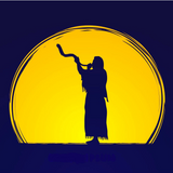 Graphic from bottle label: Illustration of a man blowing a shofar