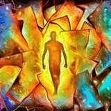 Graphic from bottle label: Illustration of an outline of a man walking through colorful fragments