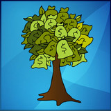 Graphic from bottle label: Illustration of a tree made from green money bags