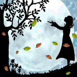 Graphic from bottle label: Illustration of a girl looking up at a tree under the moonlight
