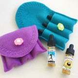 Turquoise and purple travel cases