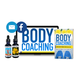 Bottles of essences that come in the kit, the Body Coaching book, and the Body Coaching logo on a computer screen signifying online program access.