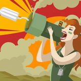 Graphic from bottle label:  Cropped illustration of a warrior woman holding a bazooka blasting out a tampon