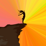 Graphic from bottle label:  Illustration of a girl standing victoriously with arms spread wide on the edge of a cliff in front of a sunset