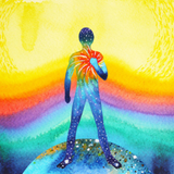 Graphic from bottle label:  Illustration of the outline of a person holding their chest on a colorful background