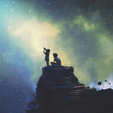 Graphic from bottle label: Illustration of some kids on a high place with a telescope looking at the night sky