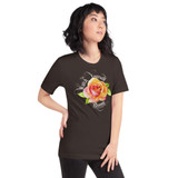 "Right view of brown ""Watch Yourself Bloom"" Relaxed Fit T-Shirt with pink and yellow bi-color rose and white text"