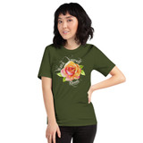 "Front view of olive ""Watch Yourself Bloom"" Relaxed Fit T-Shirt with pink and yellow bi-color rose and white text"