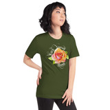 "Right view of olive ""Watch Yourself Bloom"" Relaxed Fit T-Shirt with pink and yellow bi-color rose and white text"
