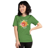 "Front view of leaf ""Watch Yourself Bloom"" Relaxed Fit T-Shirt with pink and yellow bi-color rose and white text"