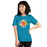 "Front view of aqua ""Watch Yourself Bloom"" Relaxed Fit T-Shirt with pink and yellow bi-color rose and white text"