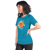 "Left view of aqua ""Watch Yourself Bloom"" Relaxed Fit T-Shirt with pink and yellow bi-color rose and white text"