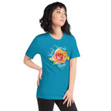 "Right view of aqua ""Watch Yourself Bloom"" Relaxed Fit T-Shirt with pink and yellow bi-color rose and white text"
