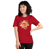 "Front view of red ""Watch Yourself Bloom"" Relaxed Fit T-Shirt with pink and yellow bi-color rose and white text"