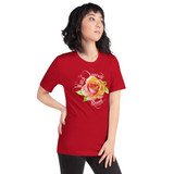 "Right view of red ""Watch Yourself Bloom"" Relaxed Fit T-Shirt with pink and yellow bi-color rose and white text"