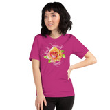 "Front view of berry ""Watch Yourself Bloom"" Relaxed Fit T-Shirt with pink and yellow bi-color rose and white text"