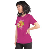 "Left view of berry ""Watch Yourself Bloom"" Relaxed Fit T-Shirt with pink and yellow bi-color rose and white text"