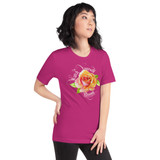"Right view of berry ""Watch Yourself Bloom"" Relaxed Fit T-Shirt with pink and yellow bi-color rose and white text"