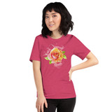 "Front view of heather raspberry ""Watch Yourself Bloom"" Relaxed Fit T-Shirt with pink and yellow bi-color rose and white text"