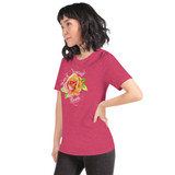"Left view of heather raspberry ""Watch Yourself Bloom"" Relaxed Fit T-Shirt with pink and yellow bi-color rose and white text"