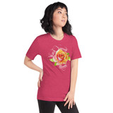 "Right view of heather raspberry ""Watch Yourself Bloom"" Relaxed Fit T-Shirt with pink and yellow bi-color rose and white text"