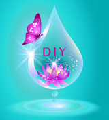 "Illustration of a water droplet with a flower and ""DIY"" in it with a butterfly on the side"
