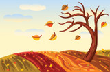 Graphic from bottle label:  Illustration of tree losing leaves