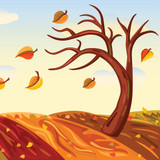 Graphic from bottle label:  cropped illustration of tree losing leaves