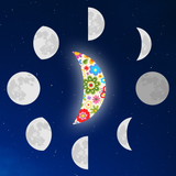 Graphic from the bottle showing a floral crescent moon with all of the other phases surrounding it.