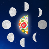 Graphic from flower essence bottle showing a floral third quarter moon surrounded by all the other phases.