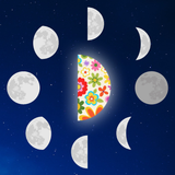 Graphic from bottle showing a floral quarter moon surrounded by all the other moon phases.