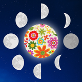 Graphic from bottle label showing a floral full moon with all the other phases surrounding it.