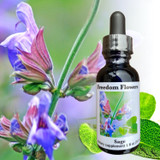 Sage flower essence bottle with purple sage flowers in the background
