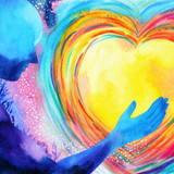 Cosmic blue man with hand on abstract yellow heart