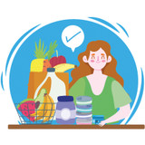 Illustration of a woman with her groceries feeling satisfied that she checked everything off her list.
