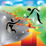 Graphic from bottle label: Illustration of a person helping another person over a huge crack in the ground to safe and green land