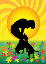 Graphic from bottle label: Illustration of a person petting their dog in a field of flowers with a sun in the background.