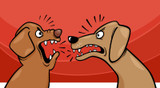 Graphic from bottle label: Illustration of two dogs barking at each other