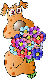 Graphic from bottle label: Illustration of a dog holding a bouquet of flowers