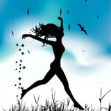 Graphic from bottle label: Illustration of girl dancing in a field