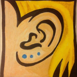 Graphic from bottle label: Illustration of an ear