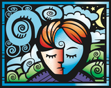 Graphic from bottle label: Illustration of a person asleep and dreaming