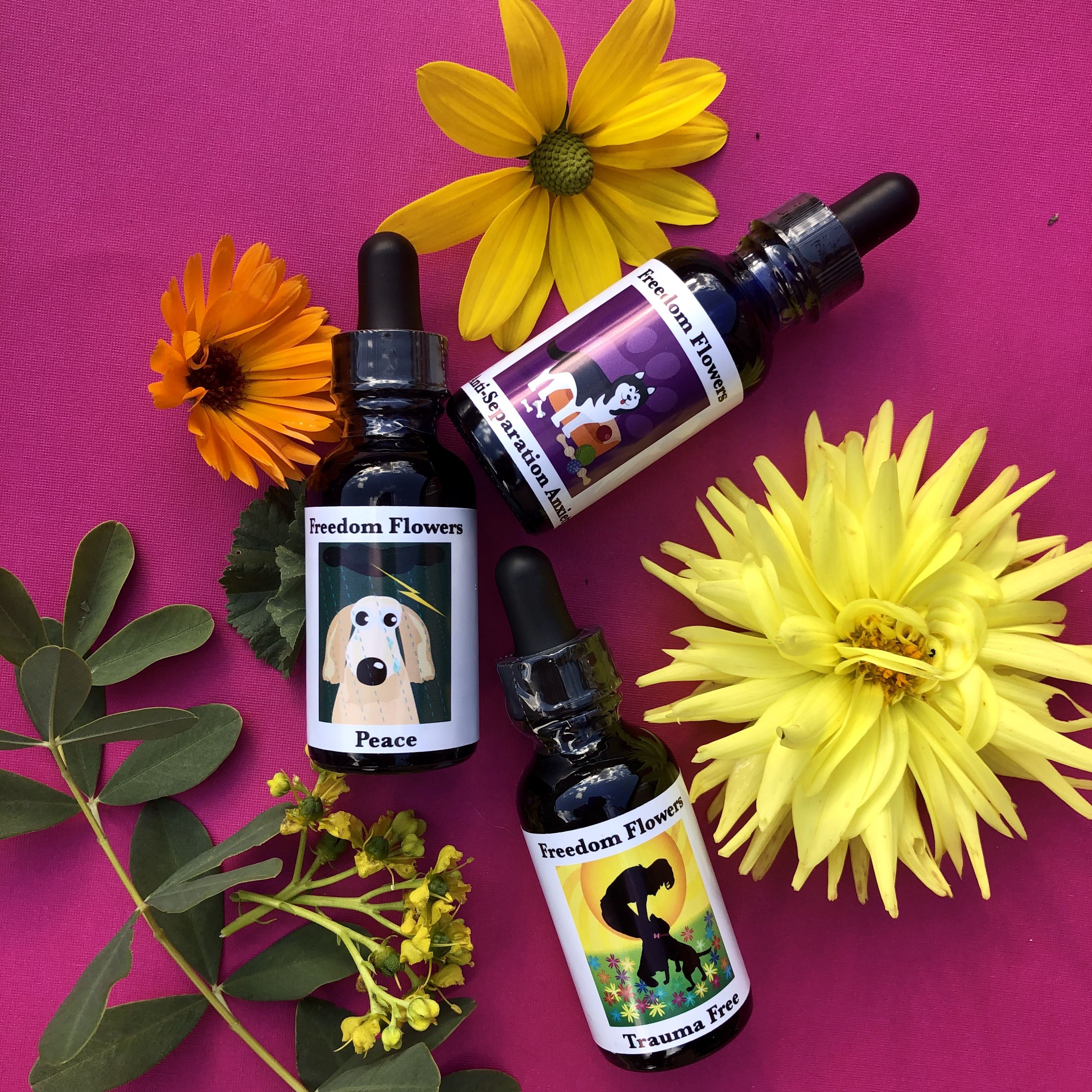 bottles of pet essences with flowers