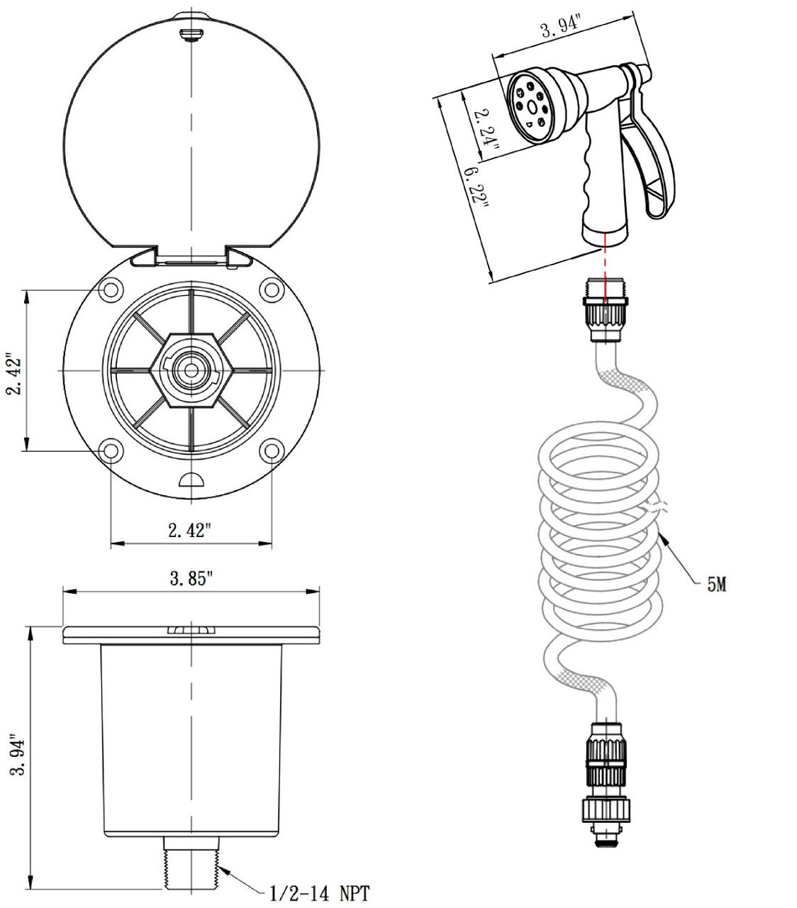 DF-SA188-WT and Utility Spray Dock Kit Hose RV Exterior Quick Connect Sprayer Dura Faucet White