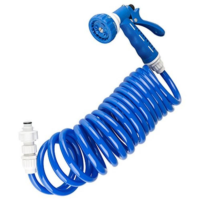 RV Exterior Quick Connect Sprayer & Hose Kit - Blue 15-Foot Coiled Hose - Authentic Dura Faucet Replacement Hose for Exterior Sprayer Kits