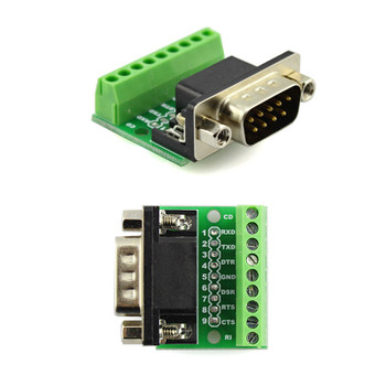 DB9 Solderless 9 Pin Terminal Female & Male RS232 RS485
