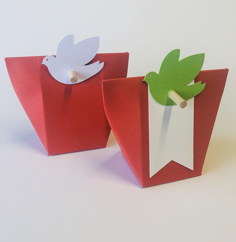 Boîte à dragées kabagami rouge